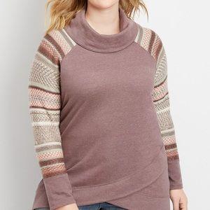 Maurices Cowl neck knit sleeve sweatshirt EUC